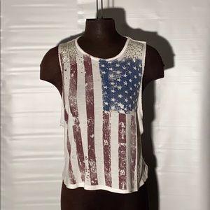 **3/$25** Charlotte R American flag tank top / Med